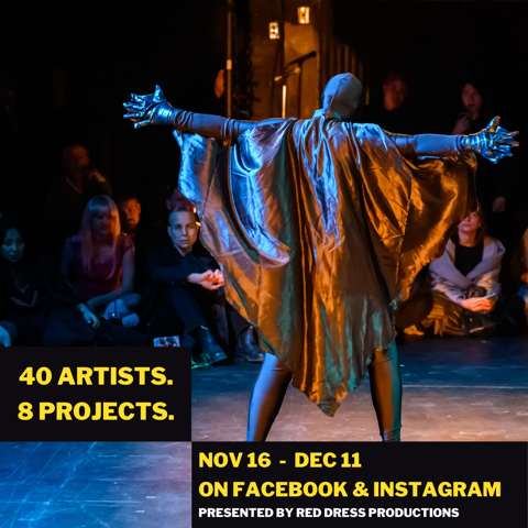 """The 2nd photo shows them in the same pose but with their back to the camera. Yellow and white text at the bottom of the image reads in all capitalized letters """"40 artists. 8 projects. Nov 16 - Dec 11 on Facebook and Instagram, presented by Red Dress Productions"""